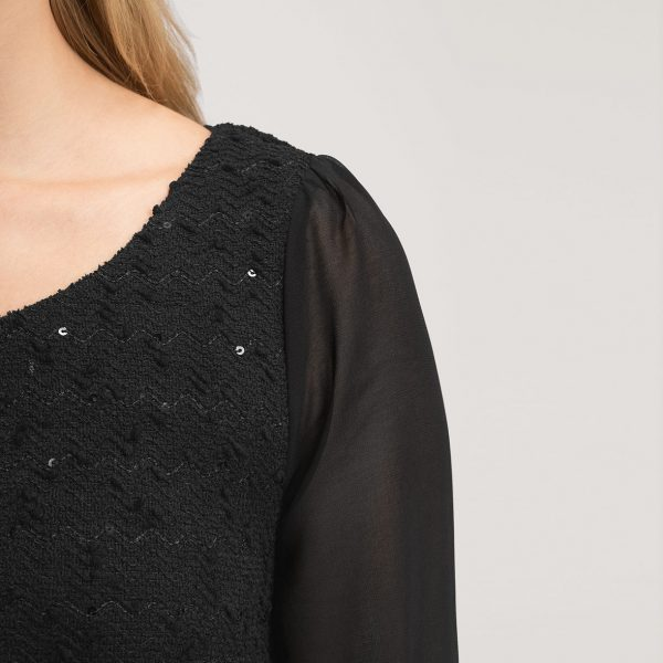 Schwarzes Damenkleid mit Ärmeln - Abiballkleider24 f59ddb7eb5